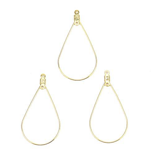Monrocco 10pcs Teardrop Beading Hoop Earring Findings Loops Teardrop Connector Charms for Jewelry Making 43x23mm.