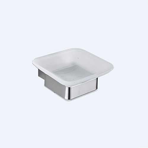 Frosted Glass Dish (Hiendure Soap Dish Frosted Glass Holder Wall Mounted, Polished Chrome)