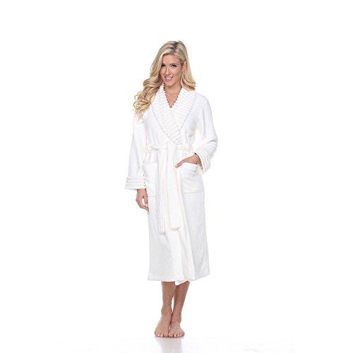 Women's Soft Plush Lounge Robe Long Thick Warm Bathrobe Shawl Collar In White (2X/3X) - White Soft Plush