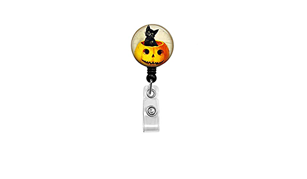Ghost cute badge reel Cute Ghost and pumpkin badge reel glitter Cute ghost acrylic badge reel Halloween glitter badge reel