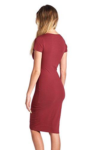 T Dress Neck LaClef Burgundy Bodycon Women's Midi Basic Casual Sleeve Cap Cotton V Shirt XxqnF0q7w