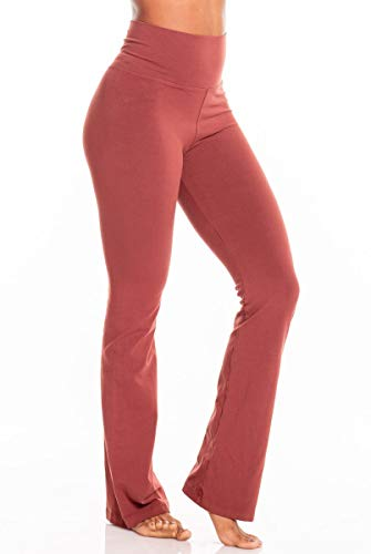Mahogony Fabric - Hard Tail Rolldown Bootleg Flare Pant -Red-S Womens Active Workout Yoga Leggings Red