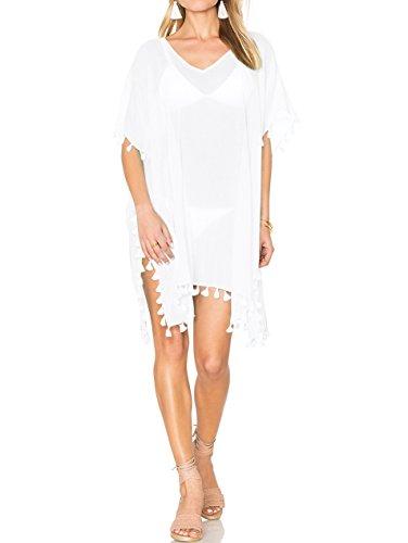 Womens Chiffon Tassel Swimsuit Stylish Beach Cover up (Tassel White 1)