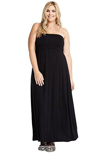 Women's Tube Foldover Comfy Stretch Soft Strapless Maxi Plus Dress USA Black (Knit Tube Dress)