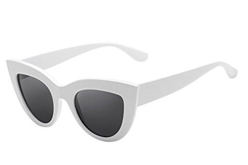 (UV Protection Cat Eye Sunglasses,Mirrored Flat Lens Women Fashion Glasses (white frame black)