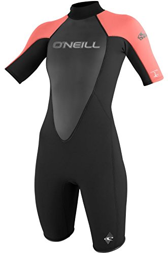 O'Neill Women's Wetsuits 2mm Reactor Short Sleeve Spring Suit, Coral Black, Size 12