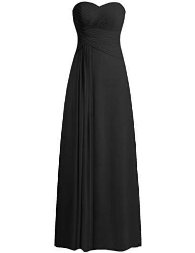ess Prom Dresses Long Sweetheart Chiffon Evening Gown Pleat Strapless Black S ()