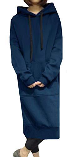 Rkbaoye Femmes Élégantes Survêtement Surdimensionné Haut Robe De Quart De Travail À Manches Longues Bleu