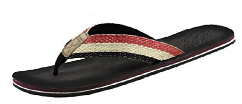 U.S. Polo Assn. Men's Premium Sandals Canvas Cushioned Tropical Flip Flop With Weather Resistant Leatherette Sole (Small (7-8), Black)