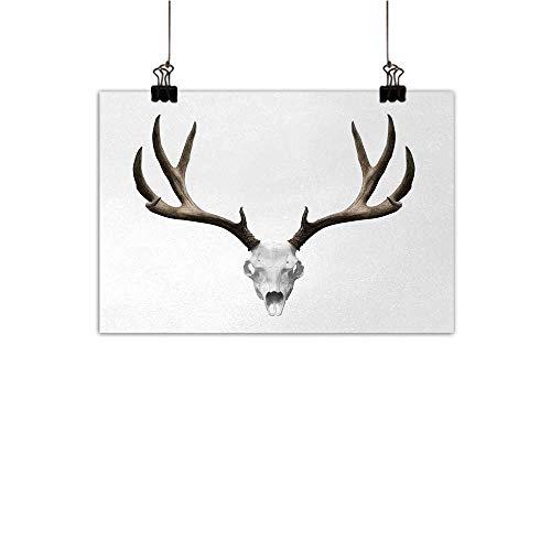 Michaeal AntlersDecorative PaintingsA Deer Skull Skeleton Head Bone Halloween Weathered Hunter Collection Customizable Wall Stickers Warm Taupe Light Grey W28 x H20 -