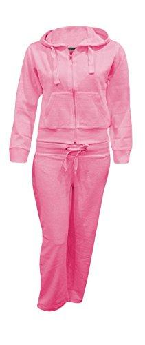 Kids Girls Hooded Velour Comfortable Pocket Zip Plus Size Active Jogging Lounge Top Bottom Suit Sweatpants Tracksuit_Fuchsia_11-12