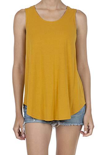 SHOP DORDOR 9052 Women's Soft Jersey Knit Scoop Neck Sleeveless Loose Tank Top Mustard M (Mustard Womens Top)