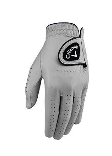 Callaway Golf Men's Opticolor Leather Glove, Worn on Left Hand, Medium/Large Grey