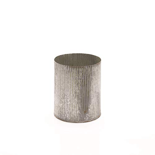 - AC Decor Ribbed Galvanized Metal Cylinder Planter, 5.5