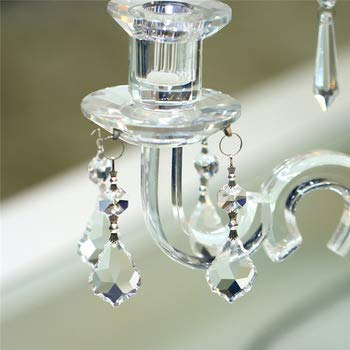 Nexxa 10pc Clear 38cm French Leaf Silver Bowtie Chakra Spectra Sun-catcher Chandelier Glass Crystals Lamp Prisms Parts Hanging Pendant