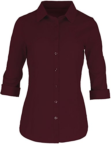 Pier 17 Button Down Shirts For Women Tailored, 3/4 Sleeve Shirt With Stretch - Semi Fitted For Slim, Fit Look...