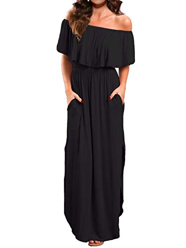 VERABENDI Women's Off Shoulder Summer Casual Long Ruffle Beach Maxi Dress with Pockets Black M