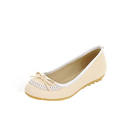 Amoonyfashion Femme Talons Bas Solide Pull-on Pu Chaussures-chaussures À Bout Rond Beige