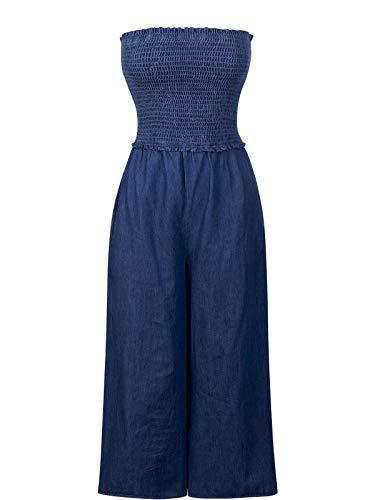 Design by Olivia Women's Smocked Stretchy Tube Chambray Jump Suit Dark Denim M ()