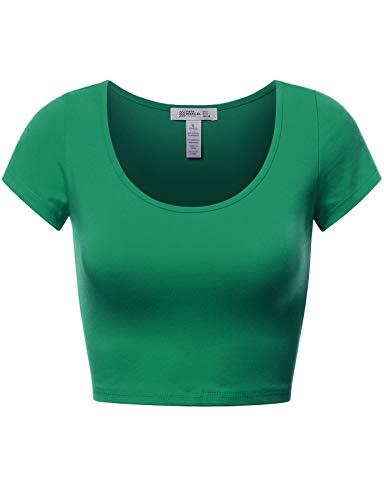 Basic Short Sleeve Crop Top Green