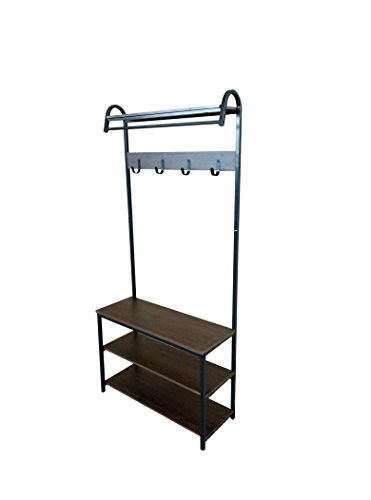 Black Metal Espresso Shelf Entryway Storage 3-tier Shoe Rack with Coat Hat Rack 4 Hooks and Cloth Rod / Shelf by eHomeProducts