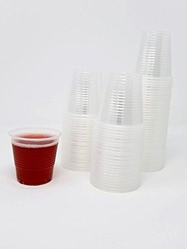 Disposable Plastic Cups Small, Clear 3.5 oz. Snack & Drink Size   Party, Event, Wedding, Kids   Recyclable Drinkware   Tea, Soda, Water, Juice, Milk (4 Pack 200 Cups)