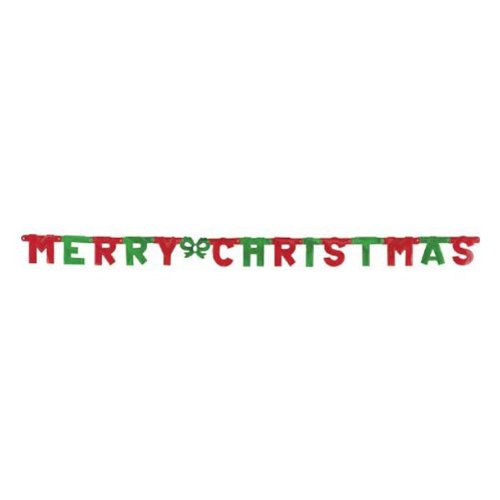 Beistle 1-Pack Foil Merry Christmas Streamer for Parties, 4-