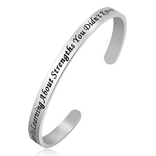 JewelryJo Cuff Bangle Bracelet for Mom Women Being A Mother is Learning About Strengths You Didn't Know You Had