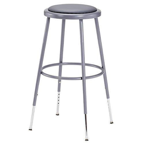 National Public Seating 6424H Grey Steel Stool with Vinyl Upholstered Seat Adjustable, 25