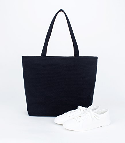Tote with Top Womens Karitco Handles Classic Black Bag Canvas Basic OTxxFS