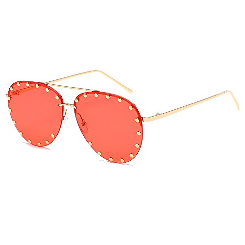 BVAGSS Women Rimless Oversized Sunglasses Colorful Lens Rivet Fashion WS027 (Gold Frame, Transparent Red Lens)