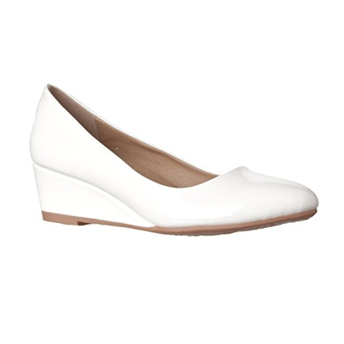 Riverberry Women's Alice Low-Height Round Toe Wedge Pumps, White Patent, (White Leather Platform Wedge Shoes)
