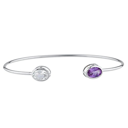 Elizabeth Jewelry Simulated Aquamarine & CZ Amethyst Oval Bezel Bangle Bracelet .925 Sterling Silver Rhodium Finish