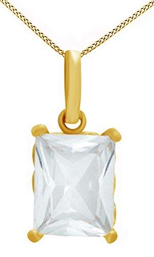 Jewel Zone US Emerald Cut Simulated White Sapphire Pendant in 10K Yellow Gold ()