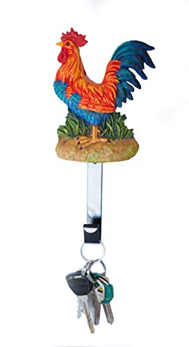 Rooster Single Wall Hook. Use to Hang Coats and Keys.