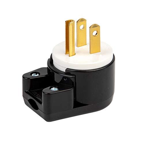90 Degree USA Canada Male Plug Nema 5-15P 3 Pole Angle DIY Plug, 15A 125V USA 3Pin Right Angle AC Plug, Nema 5-15P Angled Rewireable AC Plug,12 Direction Male US 3Pole AC Connector, Black
