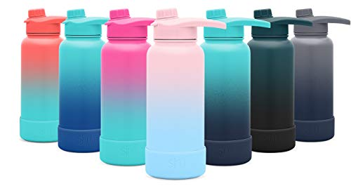 Simple Modern 32oz Summit Water Bottle with Chug Lid & Protective Boot - Hydro Vacuum Insulated Flask 18/8 Stainless Steel Powder Coated Ombre: Sweet Taffy