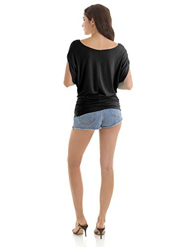 H2H Women's Linen Double V Cap-Sleeve Dolman Top Black US M/Asia M (CWTTS0115)