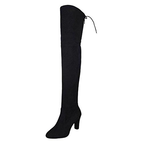 Fullfun Women Stretch Slim Thigh High Boots,High Heels Shoes (5, Black)