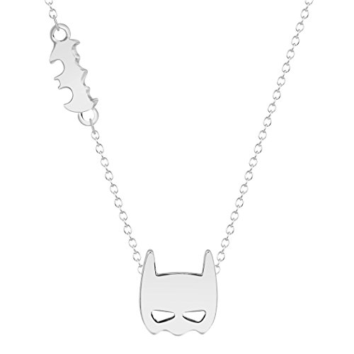 MIXIA Cartoon Batman Bat Logo Silhouette and Mask Charm Necklace for Women Kids Jewelry (Silver) ()