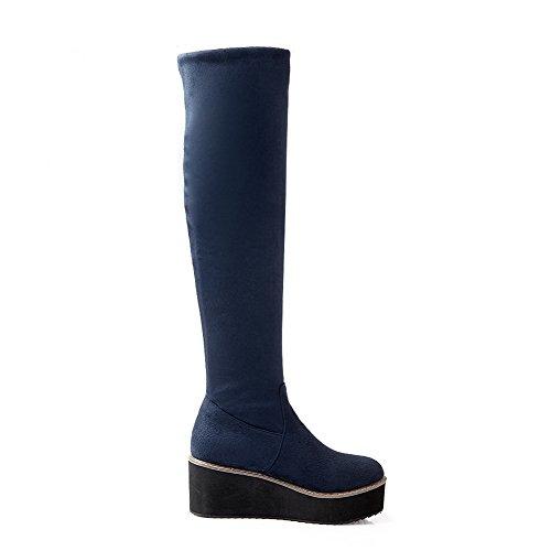 AgooLar Damen Mittler Absatz Mattglasbirne Hoch-Spitze Rein Ziehen auf Stiefel, Blau, 37