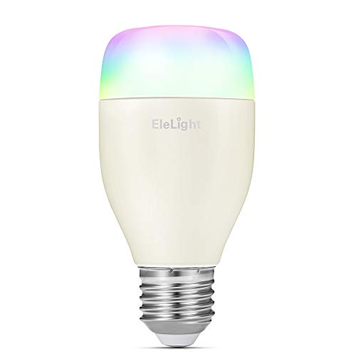 Smart WiFi LED Light Bulb, EleLight E27 7W Multi-Color RGBW Night Light Dimmable Light Bulb with APP Remote Control, Compatible with Alexa & Google Assistant for Home Party Lighting