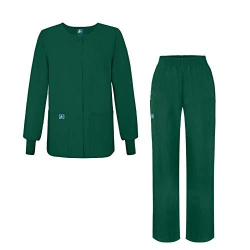 (Adar Universal Women's Scrub Set - Warm-Up Scrub Jacket and Elastic Pull-On Pants - 902 - Hunter Green - M)