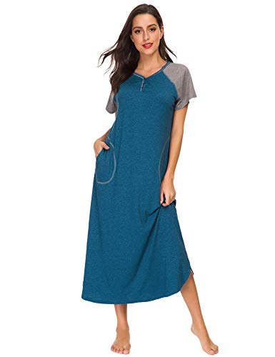 LOMON Long Nightgown Womens Cotton Knit Short Sleeve Nightshirt with Pockets (L, 2-Blue)