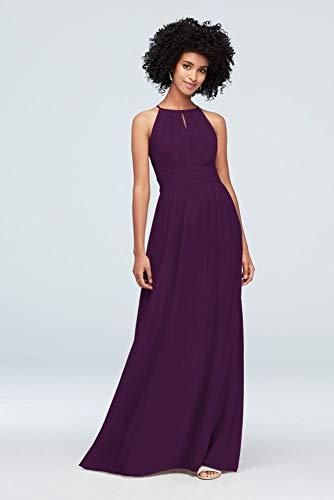 - High-Neck Chiffon Bridesmaid Dress with Keyhole Style F19953, Plum, 12