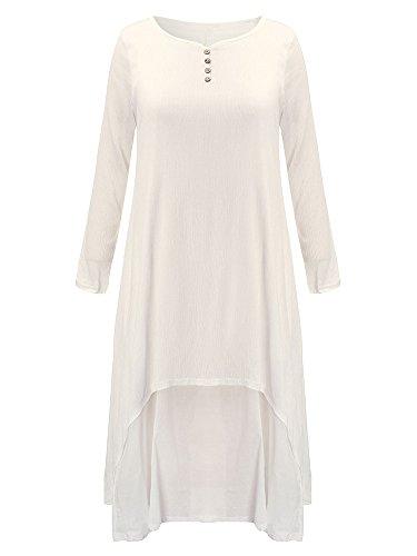 Femmes Vintage Solide À Long Patchwork Manches Blanc Irrégulière Robe Asymétrique