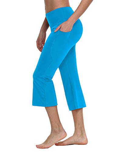 Baleaf Women's Yoga Capri Pants Flare Workout Bootleg Crop Leggings Lapis Blue - Pants Flare Sports Girls Blue