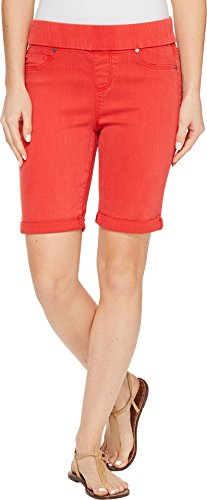 - Liverpool Jeans Company Women's Sienna Pull-on Bermuda in Pigment Dyed Slub Stretch Twill, Ribbon Red, 2