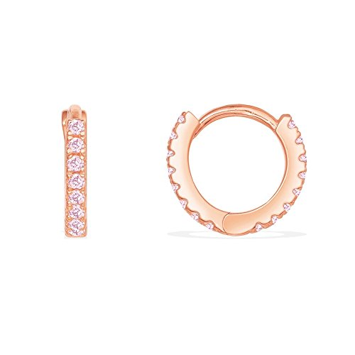 Thin Mini Ear Huggie Hoop Earrings Micro pave CZ Cartilage Hoops Sterling Silver 12mm 18K Rose Gold Plated