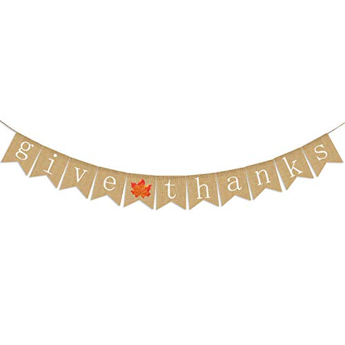 Give Thanks Burlap Banner   Thanksgiving Banner Decoration   Thanksgiving Banner Burlap   Thankful Give Thanks Party Home Decoration Supplies